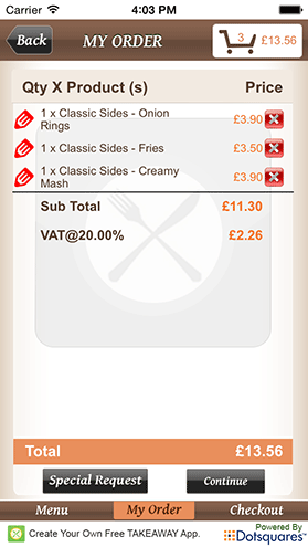 Your Own Takeaway App Order Screen